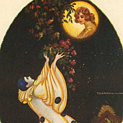 Art Deco Signed Italian 'Pierrot and the Moon' Postcard.