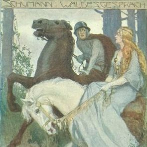 Austrian  'Medieval Maiden and Knight on Horseback' Musical Postcard.