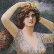 Four Beautiful Art Nouveau Artist Signed 'Nymph' Postcards.