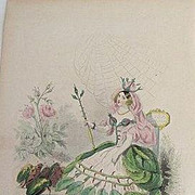 Grandville Victorian Engraving 'Rose' 1867 from Les Fleurs Animees.