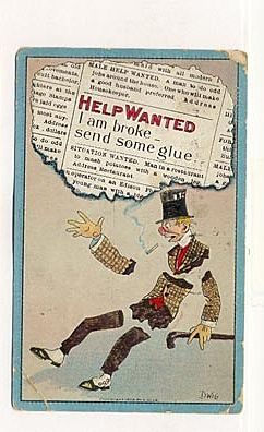 1910 Postcard with Comic Illustration, Help Wanted, Signed DWIG