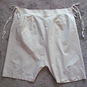 Victorian Era Cotton Knickers, Trimmed with Embroidery