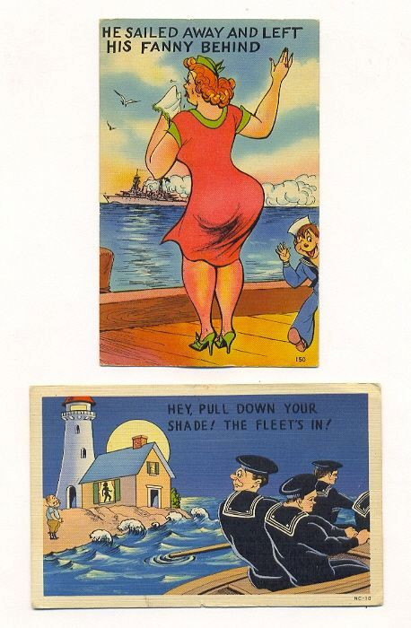 Two Comic Military Postcards &ndash; Navy, Lighthouse, Battleship