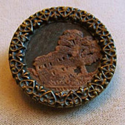 Unusual Large Button � Stamped Leather Scene on Metal Base