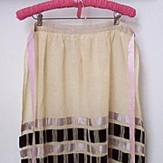 SALE Exquisite Vintage Apron with Drawnwork and Velvet Ribbons for Sunday-Best