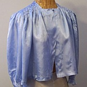 SALE Retro Smocked Bed-Jacket in Blue Satin - Could be Party Wear!