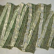 SALE Green and White Passementerie Bullion Fringe � Almost 7 Yards