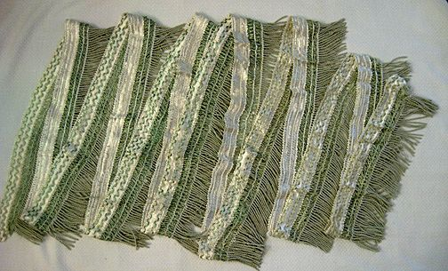 Green and White Passementerie Bullion Fringe – Almost 7 Yards