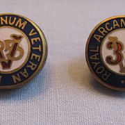 REDUCED Pair of Royal Arcanum Veteran Lapel Pins Buttons