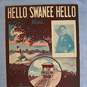 �Hello Swanee Hello�, Steamboat and Rail Car on Cover by Barbelle, 1926