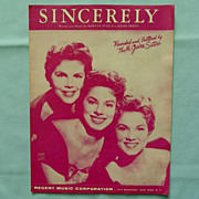 �Sincerely� � Hit Song from 1954 by the McGuire Sisters