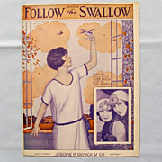 �Follow the Swallow� � Pretty Cover Illustration by Artist Frederick Manning, 1924
