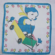 Children�s Handkerchief - Girl Riding Downhill in Wagon
