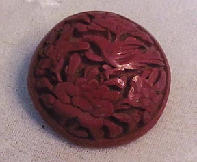 Vintage Cinnabar Button with Carved Bird and Flowers