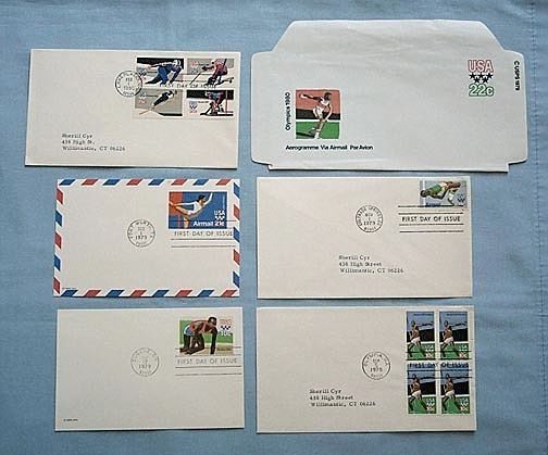 Five 1980 Olympics First Day Covers, Plus Airmail Envelope
