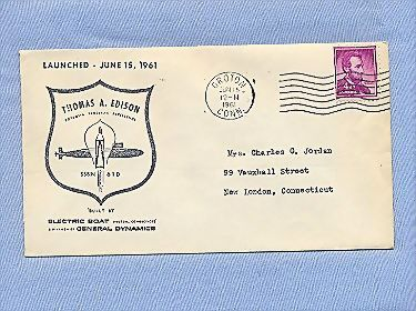 Submarine Thomas A. Edison Launching, 1961 Commemorative Cover