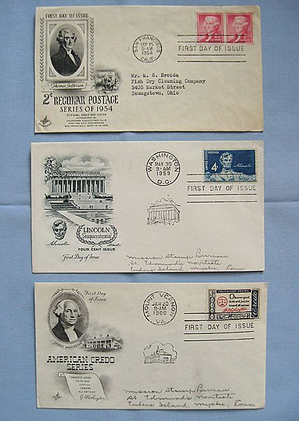 Presidents on First Day Covers, Jefferson, Washington and Lincoln