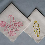 Two Lovely Handkerchiefs � Embroidered Corner with �B� Monogram