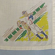 SALE PENDING Boys Hankie With Baseball Batter and Catcher - Very Cute!