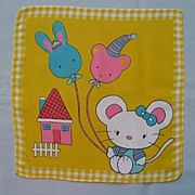 Adorable Children�s Handkerchief - Kitten With Balloons