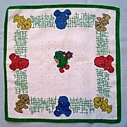 Cute Children�s Handkerchief - Blue, Yellow and Red Puppies