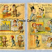 SALE Pair of Foolish Man and Wise Man Trade Cards for Stove Polish