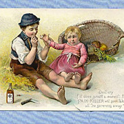Adorable Trade Card with Children � Perry Davis Pain Killer, 1890