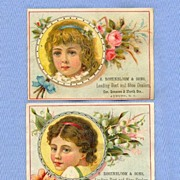 Pair of Shoe Trade Cards With Pretty Little Girls and Flowers