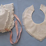 Baby Cap and Matching Bib - Beautiful Embroidery and Lace