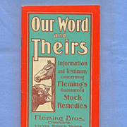 Fleming Bros. Booklet of Remedies for Cows and Horses, 1920s