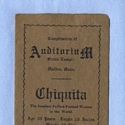 1911 Memento of Performance of Chiquita, Tiny Woman � Little Person