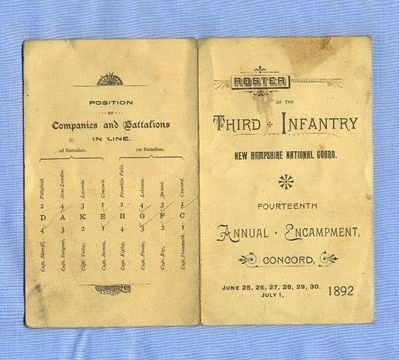 1892 New Hampshire National Guard, Third Infantry Roster