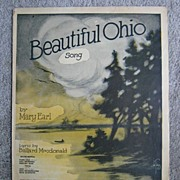 �Beautiful Ohio� 1918 Romantic Ballad, Dreamy River Scene Cover