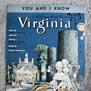 �You and I Know� Song from 1937 Broadway Musical �Virginia�