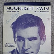 'Moonlight Swim', Movie Star Anthony Perkins Cover Portrait, 1957