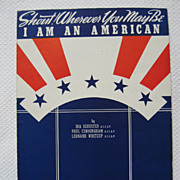 I Am An American Red, White and Blue Stars and Stripes Illustration, 1940