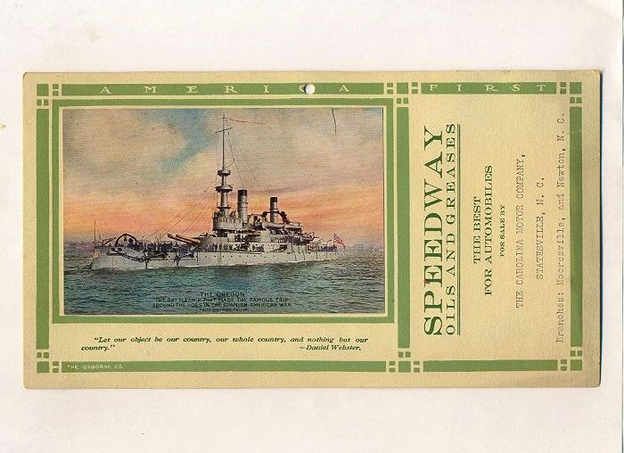"Speedway Oil, Red ""C"" Company Ad for Garage Wall, Battleship Oregon"
