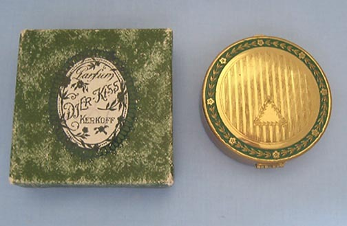Lovely Djer-Kiss Powder Rouge Compact  with Enamel Accents, Original Box, 1920s