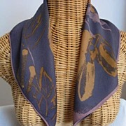 Elegant Vera Scarf, Purple Background With Gold Leaves
