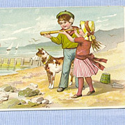 Helmes Rail Road Mills Snuff Trade Card  Boy, Girl and Dog