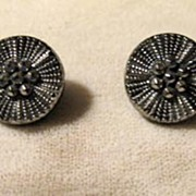 Pair of Black Glass Vintage Buttons with Silvery Accents
