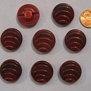 REDUCED Great Set of Eight Burgundy Bakelite Buttons - Art Deco Style