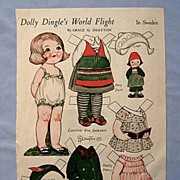 SALE Dolly Dingle Paper Doll in Sweden, 1933 Magazine Page