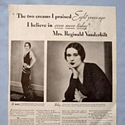 1933 Magazine Advertisement Page, Mrs. Vanderbilt for Pond�s Creams