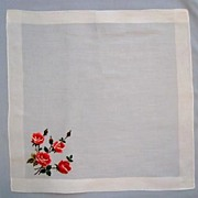 Red Roses Embroidered on a Lovely Linen Handkerchief