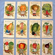 Set of Twelve Postcards by Artist E. Curtis � Garden Patch Series by Tuck