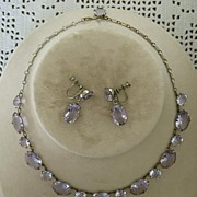 SALE Necklace and Earrings with Superb Amethyst Crystal Stones � Beautiful Set