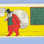 Wall Street Rich Man with Bag of Money, 1907 Comic Postcard