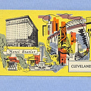 Hotel Statler, Cleveland, Ohio, 1950s Colorful Illustration