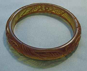 Carved Applejuice Bakelite Bangle Bracelet, Floral Design